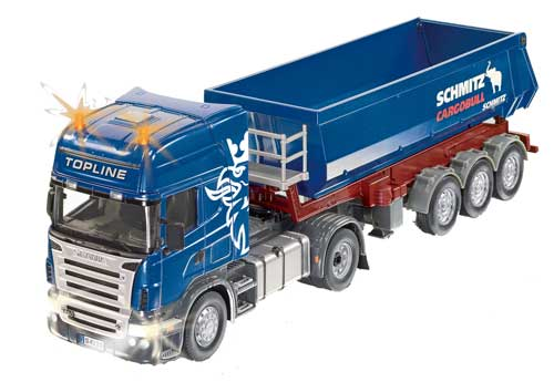 camion scania avec benne rc bleu avec t l commande sik 6725 agripassion. Black Bedroom Furniture Sets. Home Design Ideas